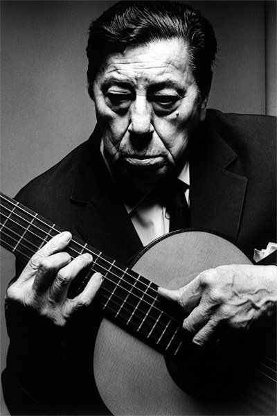 Atahualpa Yupanqui (1908-1992) - Argentine singer, songwriter, guitarist and writer. Considered als the most important Argentine folk musician of the 20th century. Photo by Jeanloup Sieff, Paris, 1983