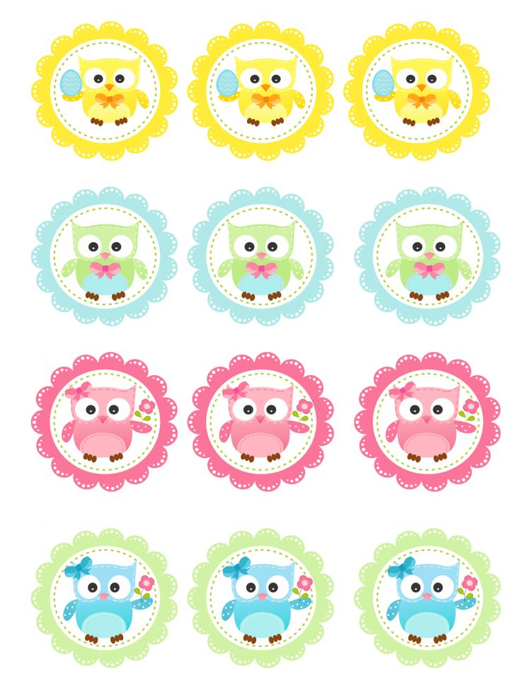 FREE Spring Owl Cupcake Toppers Printable TARA - The bottom 2 rows are the ones I'm using on the cupcakes!