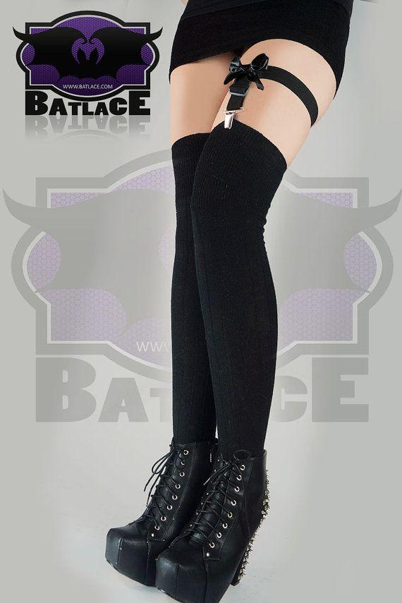 Black Goth Pastel Leg Garter Strap Bow