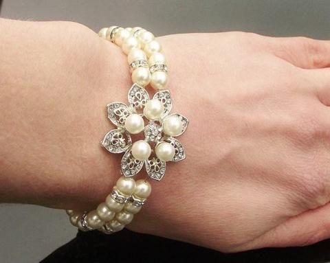 Mini Flower Style Pearl Bridal Bracelet, Alyson Mini