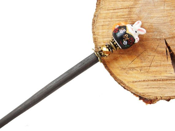 Wooden japanese hair stick and usagi fortune bunny rabbit ceramic bead with golden crystal - kanzashi hairpin pin chopstick ornament, Easter