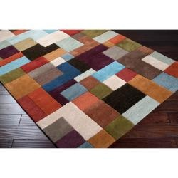 @Overstock.com - Hand-tufted in wool, this rug features a contemporary design with looped texture, hand carved details, and a plush pile. Colors of sky, rust, dark green, brown, chocolate, gold, plum, teal, grey blue, and orange accent this area rug.http://www.overstock.com/Home-Garden/Hand-tufted-Grays-Wool-Rug-5-x-8/6347877/product.html?CID=214117 $255.99