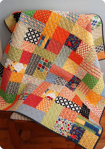 """Dick And Jane Quilt completed. Fabrics by: Denyse Schmidt Alexander Henry Sandy Klop Michael Miller Amy Butler Kona  Quilted in 1"""" crosshatch pattern.  Warm and Natural batting.  Pattern by Jamie Harned."""