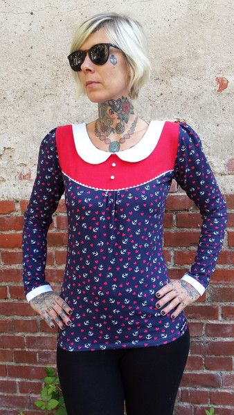 """T-Shirts mit Print - Suzi.Ramone Langarmshirt """"Lotte"""" Anker trifft Herz - ein Designerstück von ByRamone bei DaWanda"""