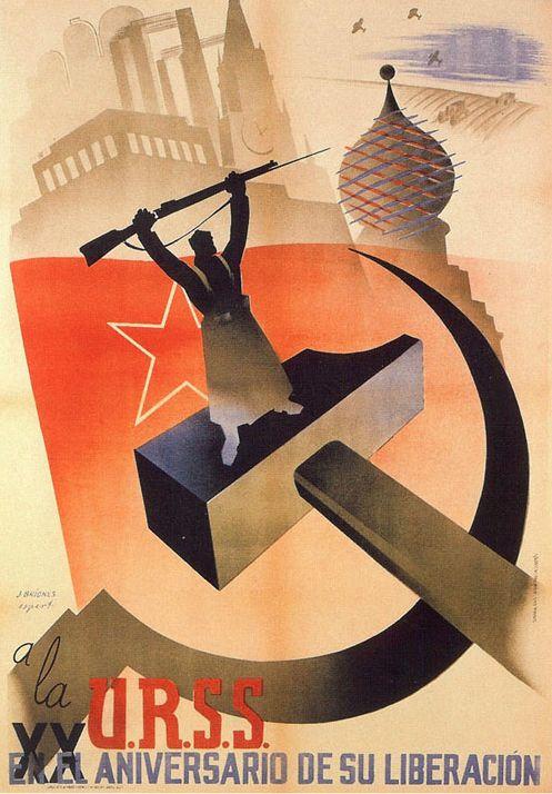 By José Briones (1905-1975), 1937, URSS XX Anniversario de su liberacion, Republican poster Spanish Civil War. (Spain)