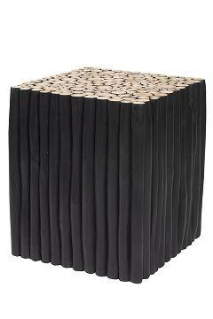 Ellos Home Svart/teak Pinna soffbord, kvadratiskt