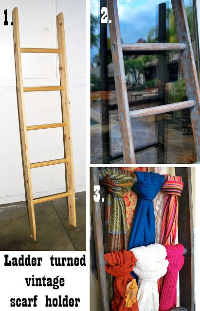 """smart ways to store scarves: If you'd rather not wall-mount hanging rods, go for a ladder """"rack"""" that you can move around. VIA saleenamarie.blogspot.com (WITH SXS FOR BUILDING THE LADDER, TOO!)"""