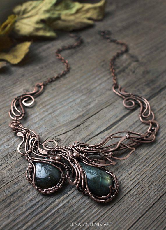 Labradorite pendant Copper pendant Wire wrap от LenaSinelnikArt