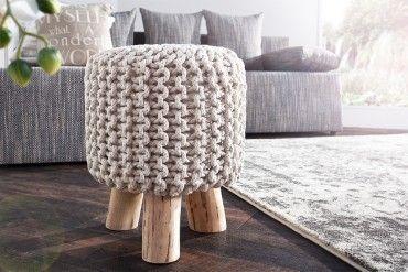 Design Sitzhocker LEEDS aus Strick weiß 45cm mit Holzfüßen Baumwolle in…