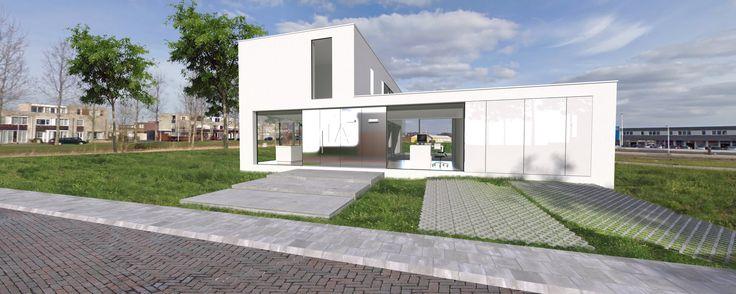 Op een klein overgebleven grasstrook wordt een 9 tal vierkante kavels  uitgegeven, beperkt in oppervlak van 206 m2. Het ontwerp vormt een  haakvorm met een open ruimte op de begane grond en een meer  gesloten volume voor de verdieping. De grote raamopeningen liggen  zowel diep in de negge en vlak in de buitenvlak. De entree wordt  gemarkeerd door een verchroomd vlak. http://www.jmwinfo.nl/woonhuis%20173.htm www.jmwinfo.nl