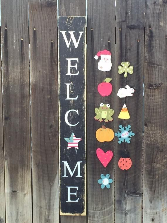 Seasonal Welcome Sign Etsy Crafts Diy Crafts Cricut Crafts