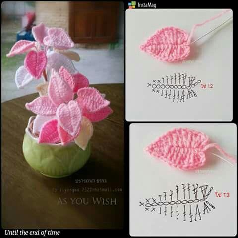 Crochet Leaves - Chart ❥ 4U hilariafina  http://www.pinterest.com/hilariafina/