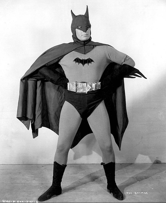 """The First Batman Lewis Wilson (1920-2000).    Wikipedia: """"Batman is a 15-chapter serial released in 1943 by Columbia Pictures. It starred Lewis Wilson as Batman & Douglas Croft as Robin. J. Carrol Naish played the villain, an original character named Dr. Daka. Rounding out the cast were Shirley Patterson as Linda Page (Bruce Wayne's love interest), and William Austin as Alfred. Batman, a US government agent, attempts to defeat the Japanese agent Dr. Daka, at the height of World War II."""""""