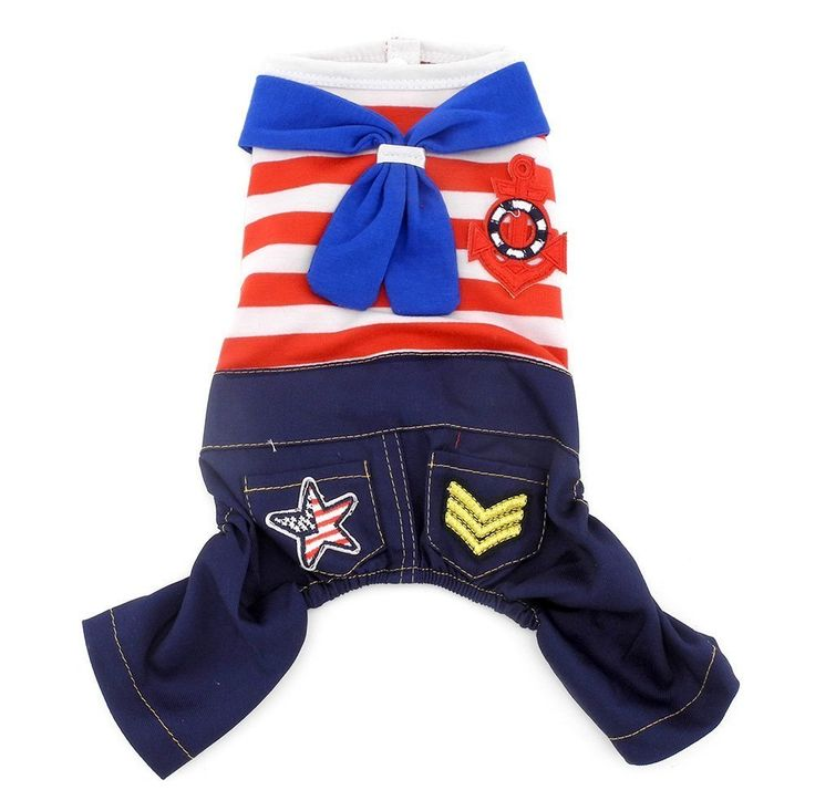 SMALLLEE LUCKY STORE Small Dog 100 Percent Cotton Striped Sailor Shirt/Denim Jumpsuit, X-Large, Red *** To view further for this article, visit the image link. #CatClothing