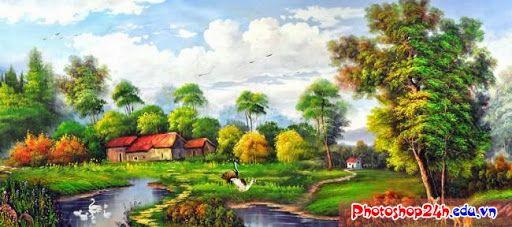 PSD - Psd tranh sơn dầu làng quê