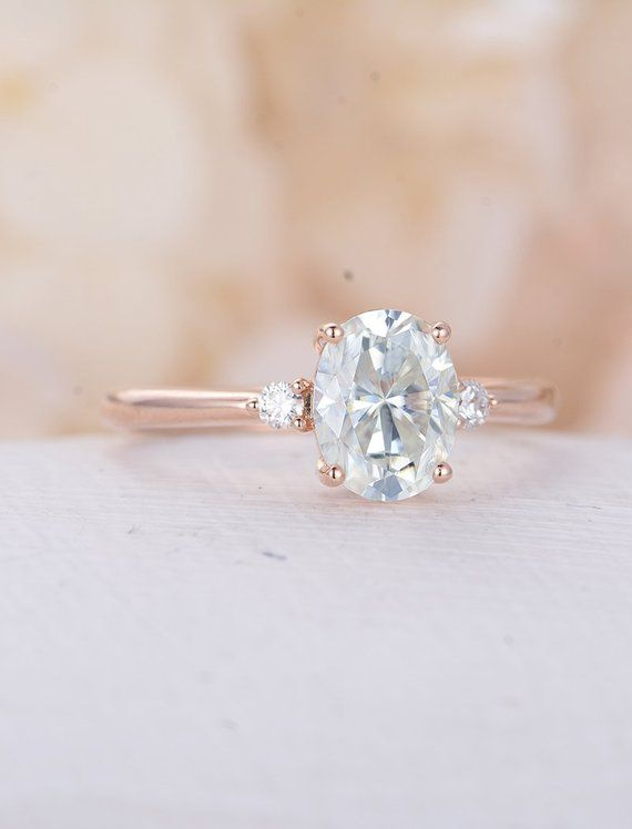 Oval Moissanite Engagement Ring set Rose gold engagement ring curved wedding band unique Bridal Jewelry Promise Anniversary gift for women – idees