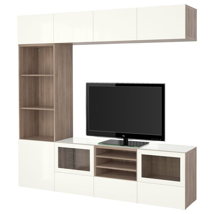 "IKEA - BESTÅ, TV storage combination/glass doors, walnut effect light gray/Selsviken high gloss/white clear glass, drawer runner, push-open, 94 1/2x15 3/4x90 1/2 "", , The drawer and doors have integrated push-openers, so you don't need handles or knobs and can open them with just a light push.The tempered glass top panel protects the top of the TV bench and gives it a different look.This TV storage combination has plenty of extra storage and makes it easy to keep your living room…"