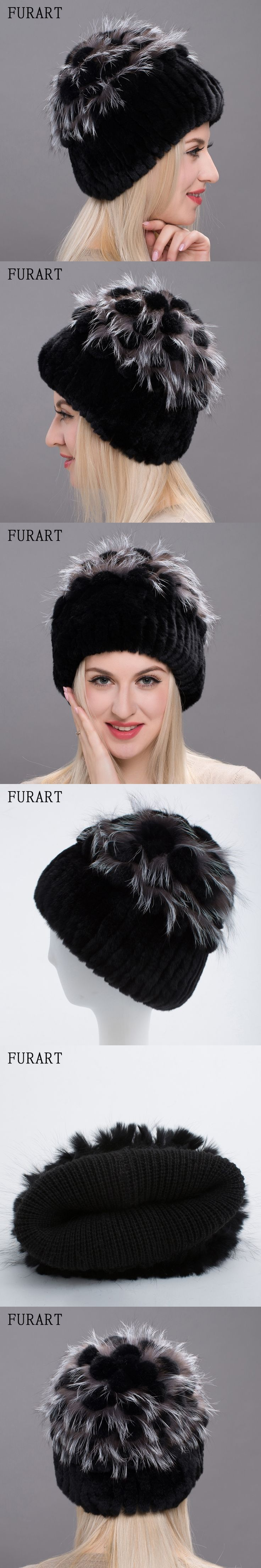 Real Rex rabbit Fur Hat Women Fur Winter Hats With Ball Knitted Fur Hat With Sliver Fox Fur Pom pom Skullies & Beanie DHY17-05A