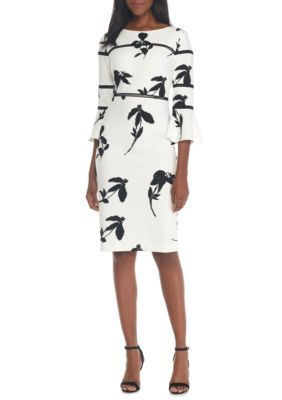Taylor Women's Bell Sleeve Printed Scuba Dress - Ivoryblack - 12