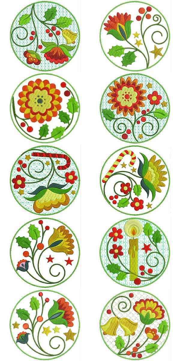 Jacobean Embroidery Patterns | Jacobean Christmas Embroidery Machine Designs