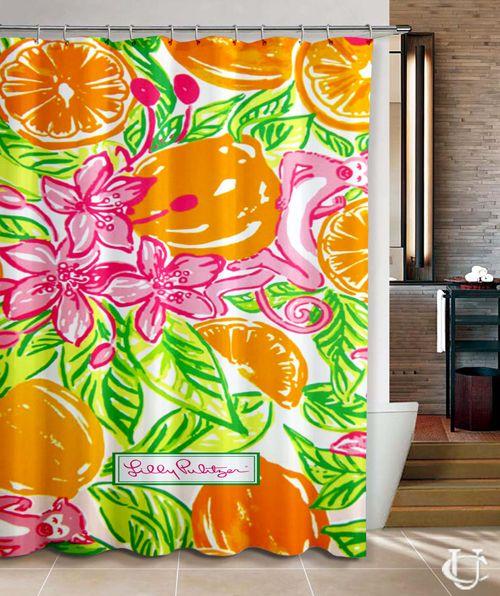 Cheap New custom lilly pulitzer Orange Shower Curtain