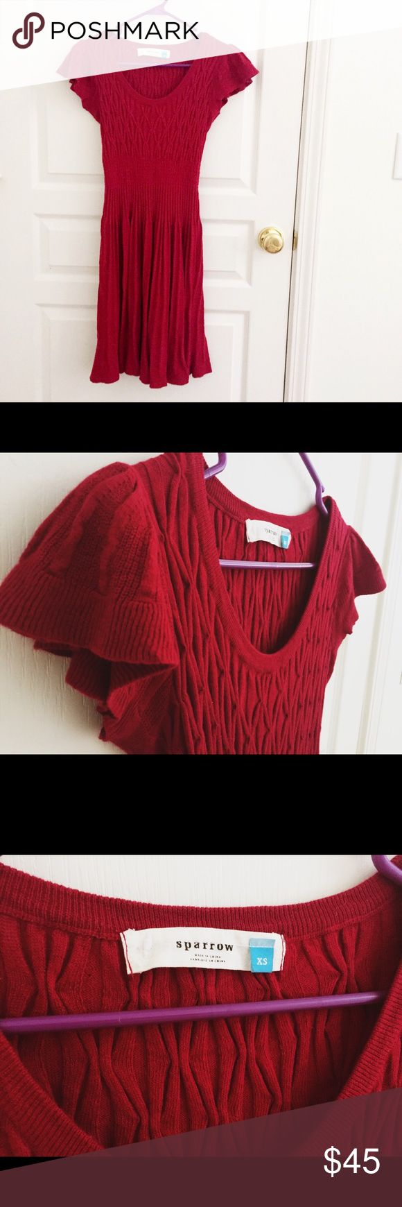 Selling this Anthropologie sparrow sweater dress red on Poshmark! My username is: wanderlust83. #shopmycloset #poshmark #fashion #shopping #style #forsale #Anthropologie #Dresses & Skirts