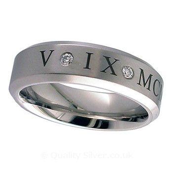 Geti Diamond Set Roman Numeral Titanium Ring