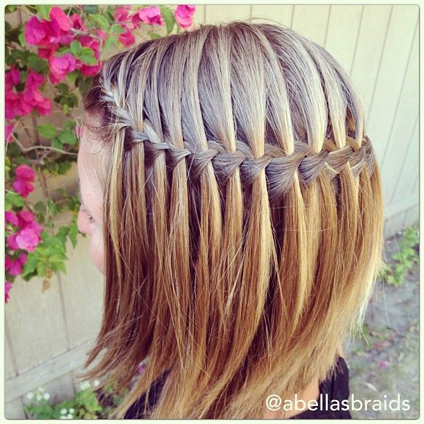 Waterfall braid on short hair!!!! I need to do this for the sisters wedding!!