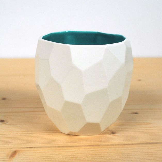 Mugs – Poligon Porcelain coffee cup, facetted handmade – a unique product by…