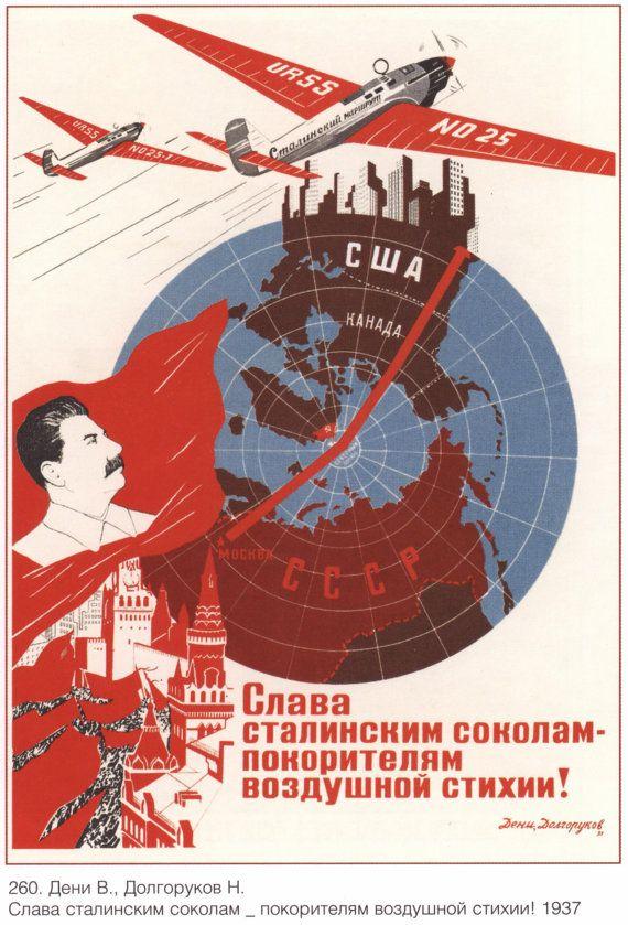 Sowjetunion. Sowjetische Plakate:  Ruhm zu Stalins Falken - Eroberer Element!. Propaganda. Lenin. Künstler: Deni V., N. Dolgoruki 1937. ---Sehr