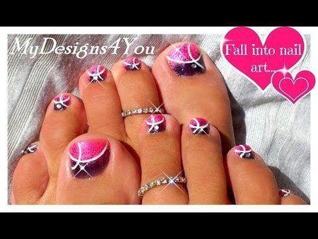 EASY PINK GLITTER TOENAIL ART DESIGN TUTORIAL via #mydesigns4you #pedicure