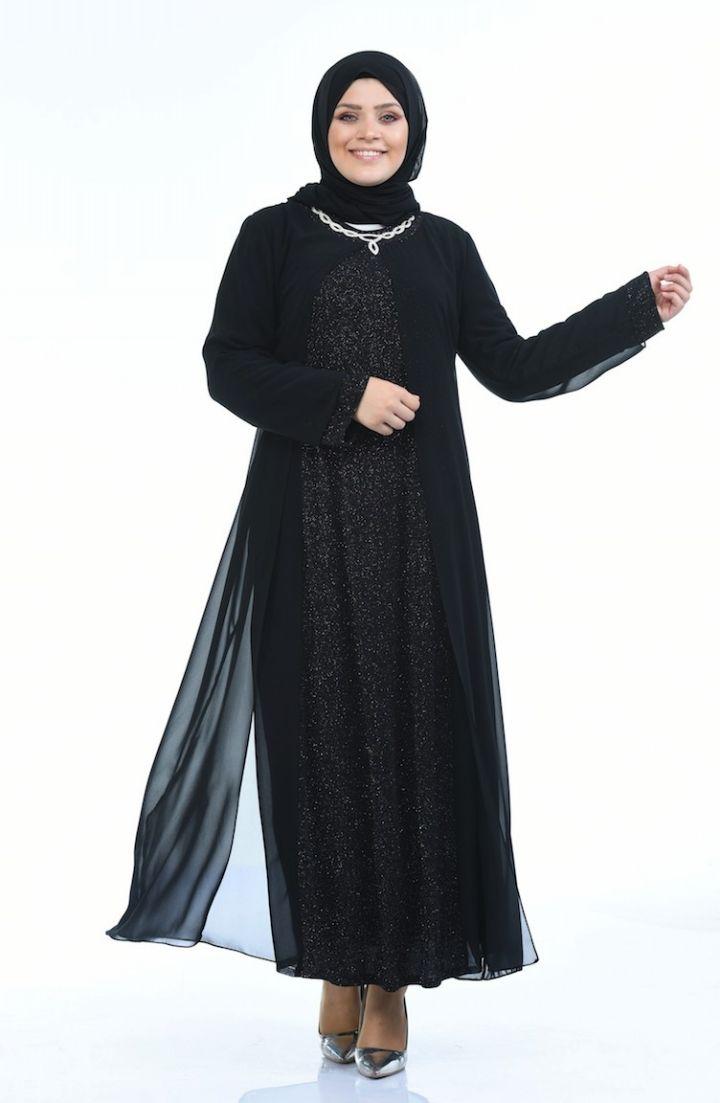 Sefamerve Buyuk Beden Simli Abiye Elbise 1043 03 Siyah 2020 Elbise Elbise Modelleri The Dress