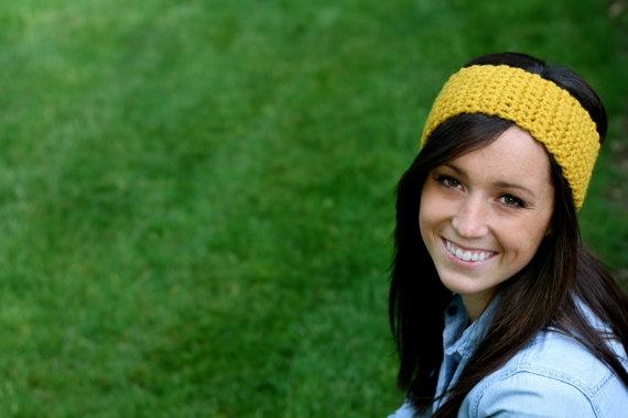 mustard yellow crotcheted headband...via meggieslove by @Megan Hollenback