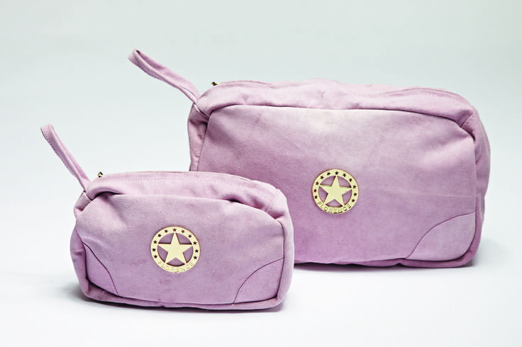 Make your live Pink! Florence Design Make-up and Toilet bags in suede leather! <3