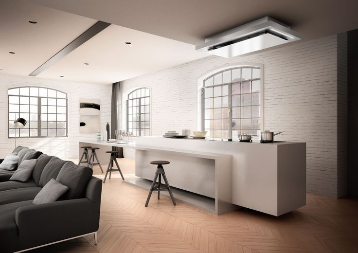 Look at the hob from a new perspective. This is what SkyPad does, the innovative built-in design model, featuring a solid steel body and thin glass panel, ideal for enabling powerful perimeter extraction. Its plus point lies in the fact that it is not integrated into the ceiling, but is simply installed for an elegant suspension effect.