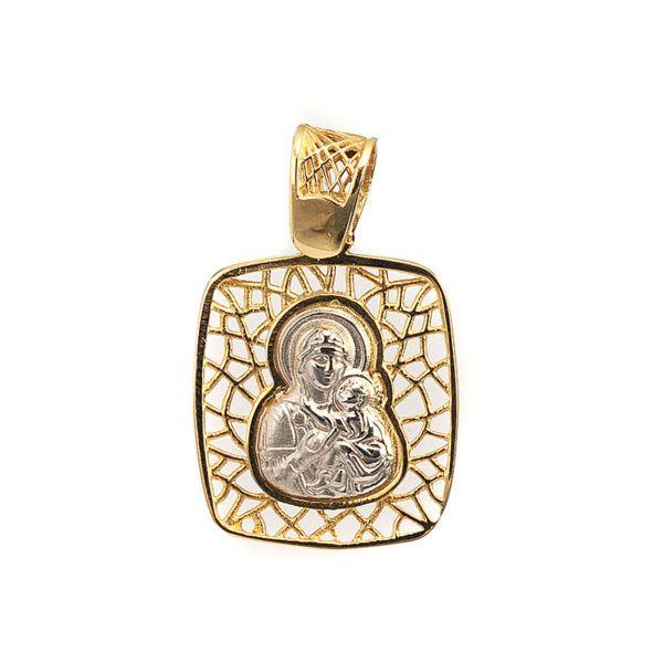 Μενταγιόν Παναγία δίχρωμο χρυσό Κ14