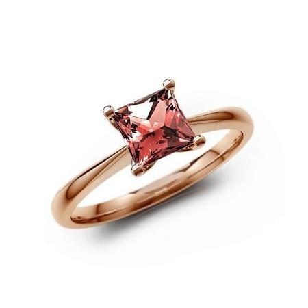 14K Rose Gold Garnet Ring - Princess Solitaire Ring Jewelry by Gemify
