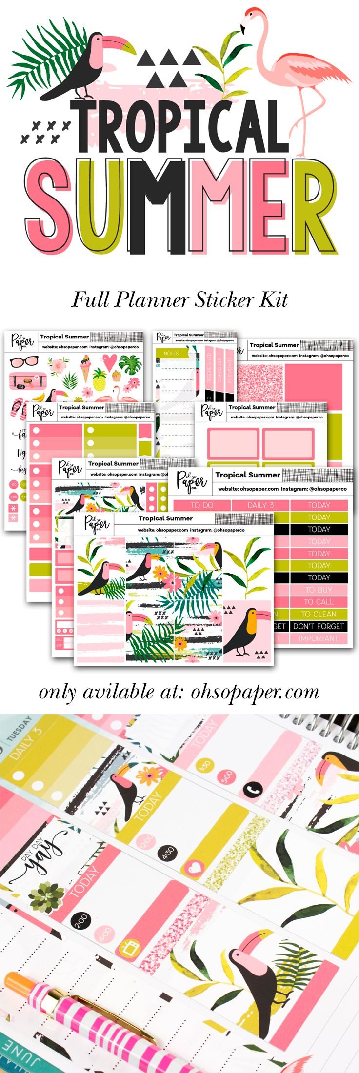 The Tropical Summer Full Planner Sticker Kit is the perfect way to bring in summer.   The kit is bright, fun and colorful and has plenty of stickers to decorate your spread in your Erin Condren Life Planner, Happy Planner, Recollections planner or any of your favorite planners.