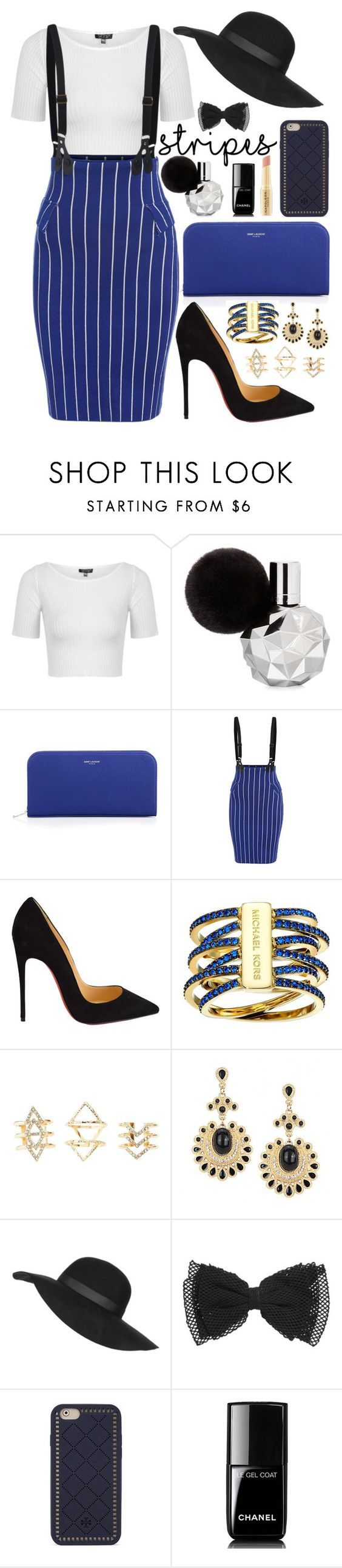 """""""He loves me with every beat of his cocaine heart"""" by dinosaurrawr ❤ liked on Polyvore featuring Topshop, Yves Saint Laurent, Christian Louboutin, Michael Kors, Charlotte Russe, Tory Burch, Chanel and Napoleon Perdis"""