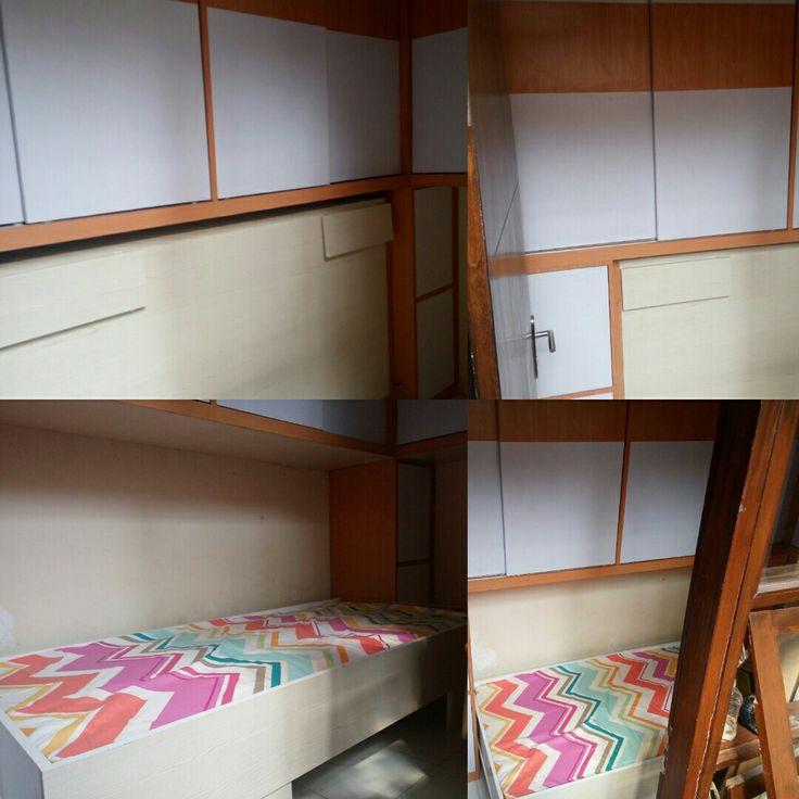 www.kingdominterior-bandung.com  Small bedroom can be effective with wardrobe and bedroom with fitting folding ... Lemari dan tempat tidur gantung minmalis dengan mamanfaatkan kamar yang kecil. #kingdominteriorbandung  #kitchenset  #wardrobe  #bedfitting  #foldingbed  #jasatukang  #interiorbandung  #interiordesign  #lemari  #tempattidur  #dipan  #furniture  #furniturebandung  #cabinets  #islam  #woodproject  #woodworking  #hpl