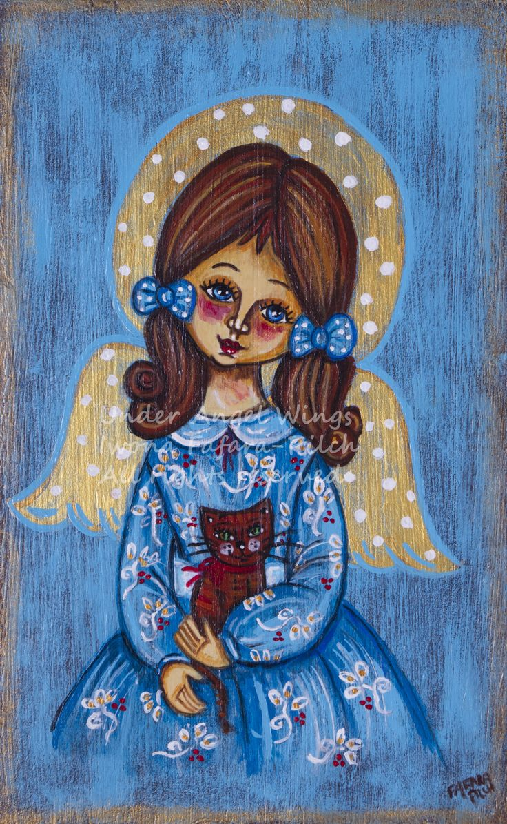 The angelic girl with a cat fine art print children baby boy christmas communion christening wall decoration wood painting room souvenir happy cheerful colourful birth child portrait butterfly flower doll merry joyful summer wedding decor holy sacral rural beautiful gorgeous rustic folk country spring religious mother day angel colorful present catholic christian