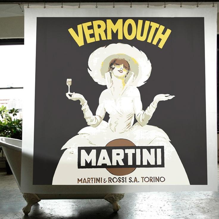 Cortinas De Baño Easy:Cortina de baño Izola Martini Cortina de baño estampada con motivos