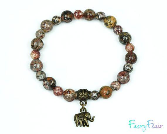 Leopard skin Jasper Elephant Bracelet for Spiritual Connection