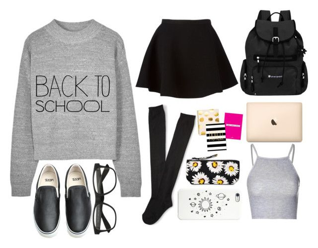 """Back to school"" by estherlillymae ❤ liked on Polyvore featuring Sherpani, Aéropostale, Black Apple, Glamorous, Motel, Neil Barrett and Vans"