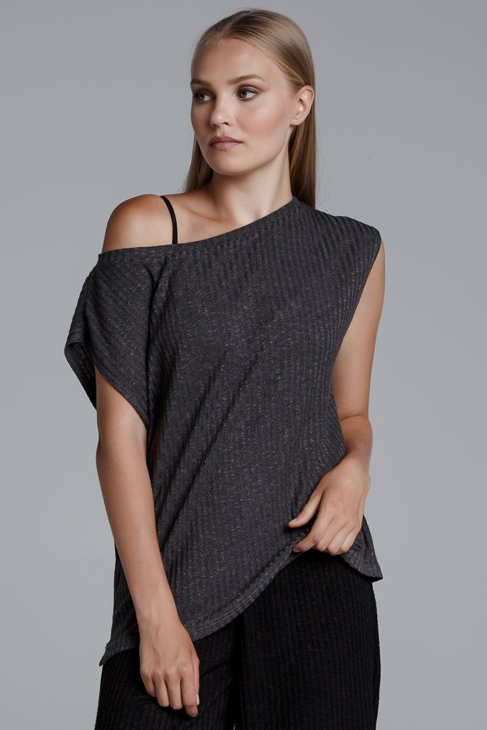 CKONTOVA sleeveless ribbed top for all day looks... Grey