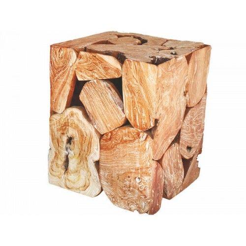 Σκαμπό κατασκευασμένο από κομμάτια ξύλου suar σε καφέ αποχρώσεις. Ένα πρωτότυπο έπιπλο που μπορεί να χρησιμοποιηθεί και ως βοηθητικό τραπεζάκι και κομοδίνο.    Για τη διαθεσιμότητα του επίπλου παρακαλώ επικοινωνίστε με το κατάστημα.