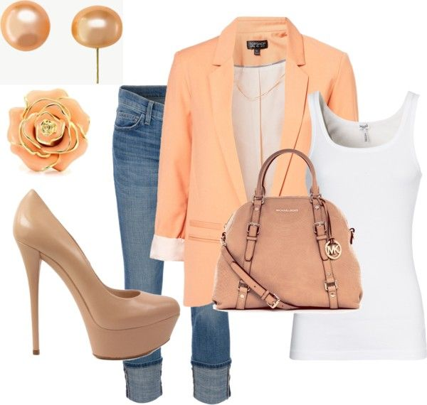 love the blazer- simple and cute: Light Pink Blazers, Casual Friday, Peaches Blazers, Blushes E.L.F., Colors, Great Outfits, Heels, Spring Outfits, Bags