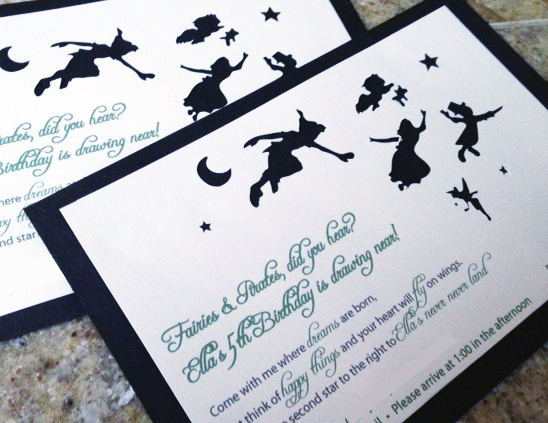 It's a Peter Pan Party! Fun Silhouettes Drawn then cut out using the Silhouette. Invite Glued to Brown Shimmer Cardstock.