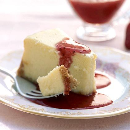 Better for you Cheesecake with Strawberry Sauce