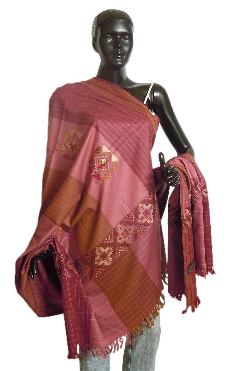 Pink with Brown Kullu Shawl with Weaved Design from Himchal Pradesh (Woolen)